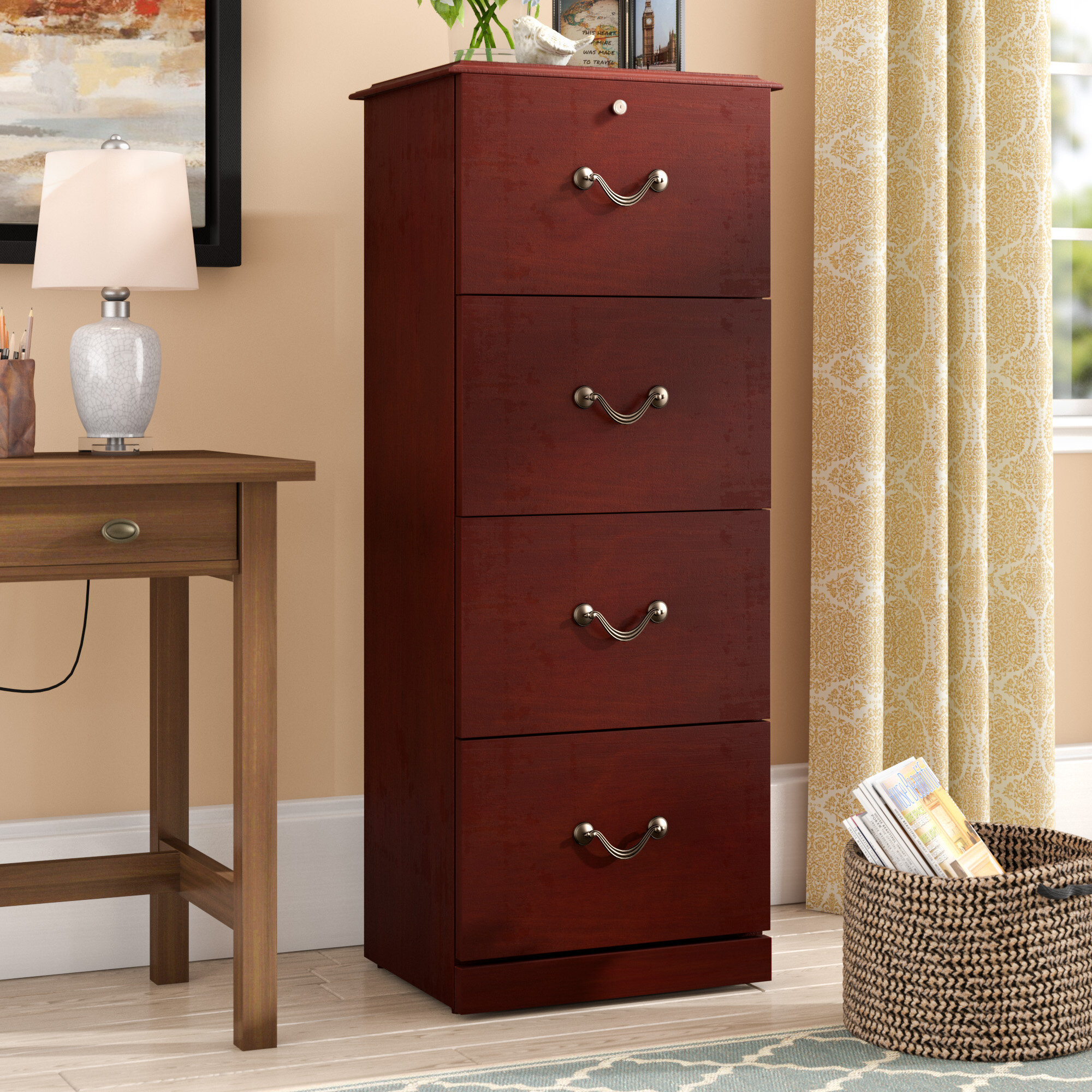 Picture of: Steel File Bar 4 Drawer 46 Filing Cabinet Security Office Lock Chrome Finish