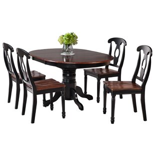Maryrose 5 Piece Solid Wood Dining Set with Oval Table