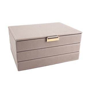 Faux Leather Stackable Jewellery Organizer With Metal Tab