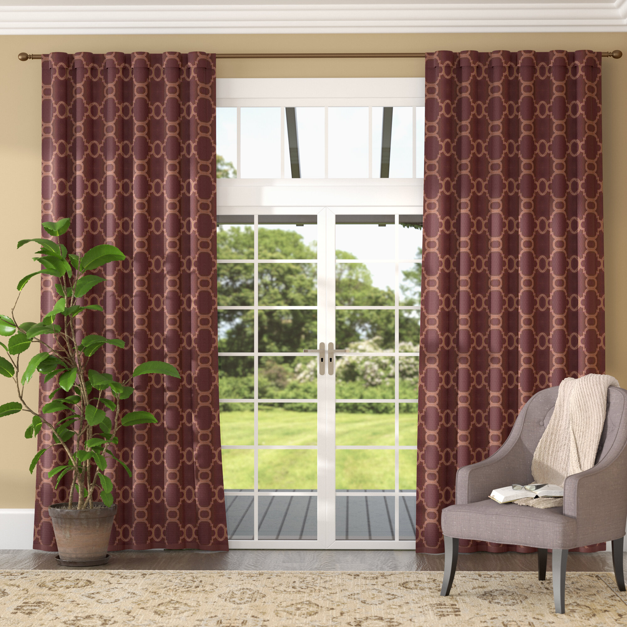 curtain thermal gray curtains of products quatrefoil panels trellis modern white panel window moroccan pair blackout treatment grommet set