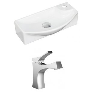 Affordable Ceramic Rectangular Vessel Bathroom Sink with Faucet By American Imaginations