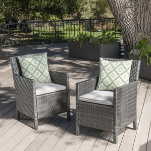 Arguelles Outdoor Wicker Patio Dining Chair (Set Of 2)