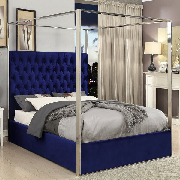 Everly Quinn Pamala Upholstered Canopy Bed & Reviews | Wayfair