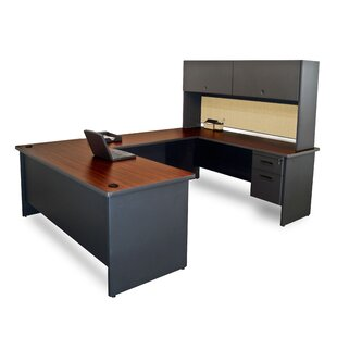 Crivello Flipper Door Unit U-Shape Executive Desk with Hutch