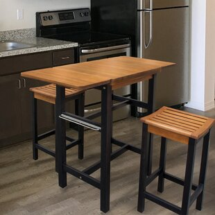 Jeanetta 3 Piece Table Stool Kitchen Island Set & Kitchen Islands with Seating Youu0027ll Love | Wayfair
