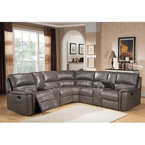 Amax Sacramento Leather Reclining Sectional