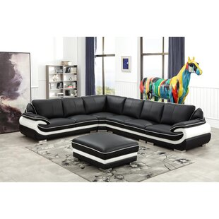 Ollie Leather Modular Sectional with Ottoman by Orren Ellis