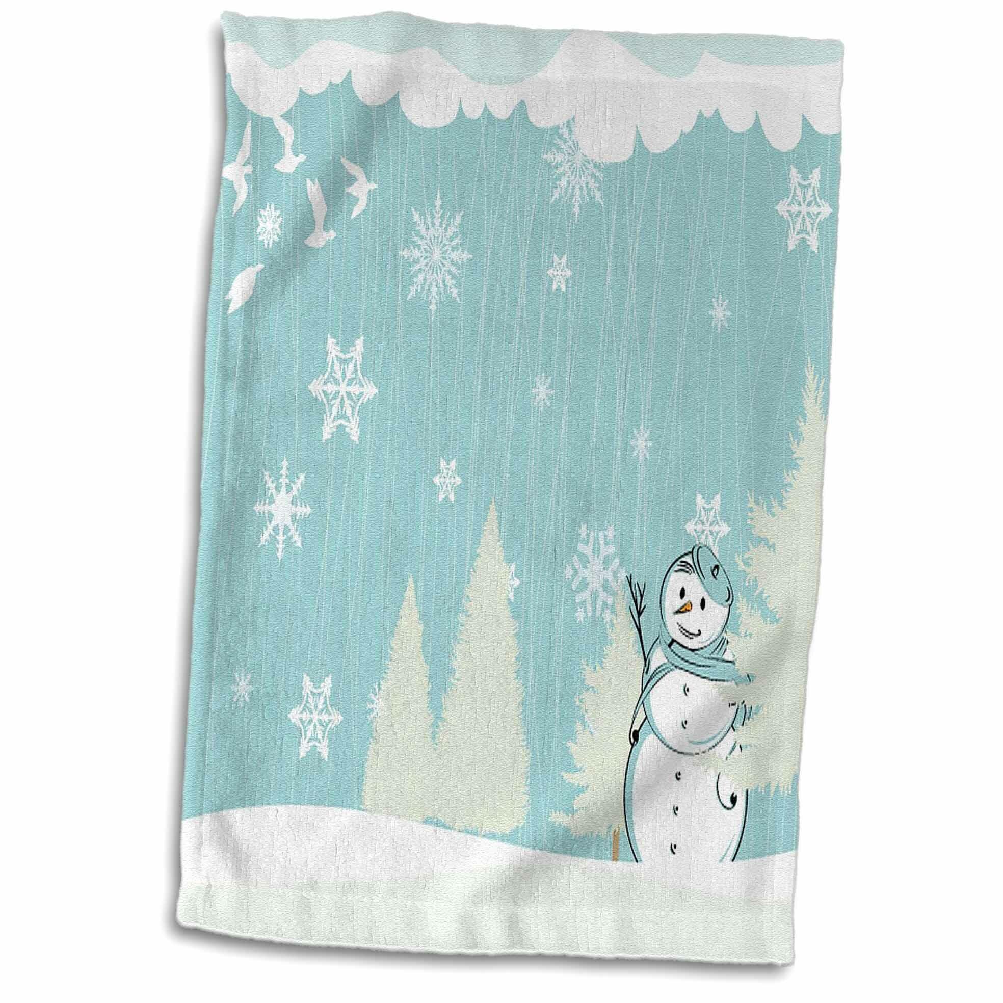 Symple Stuff Lesko Pretty Snowman In A Winter Scene Hand Towel Wayfair
