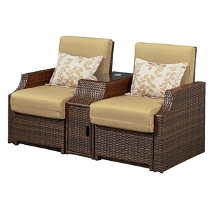 Burton Double Patio Chair with Cushions (Set of 2)