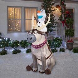 Gemmy Industries Airblown Disney Olaf Sitting on Sven Scene ...