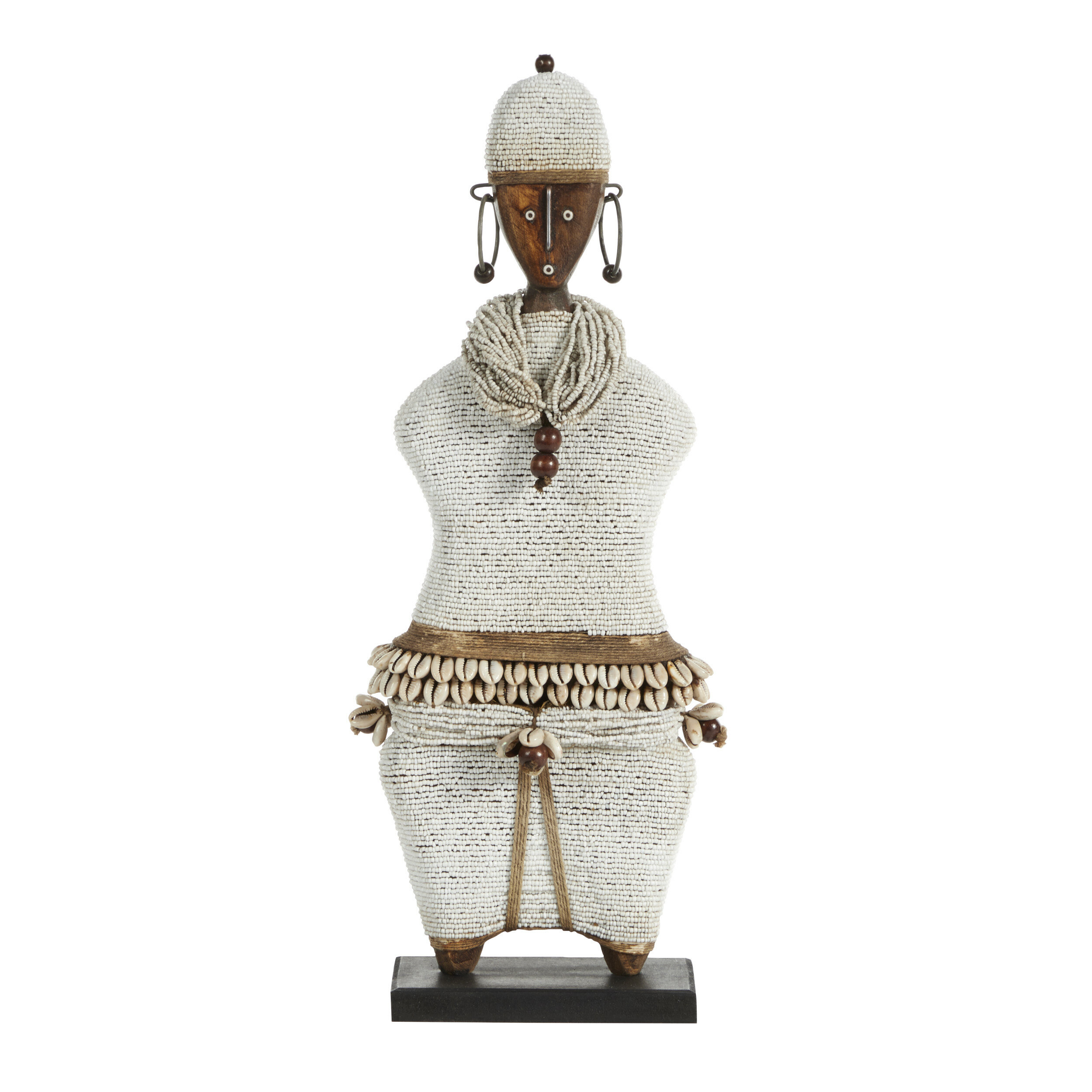 Africantreasures Large Hand Crafted Pine Cowrie Shells White Beads Kente Cloth African Woman Namji Doll Sculpture Perigold
