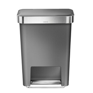 11.9 Gallon Rectangular Step Trash Can with Liner Pocket, Plastic