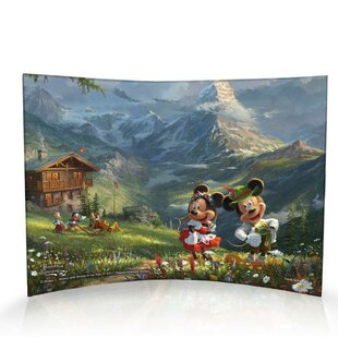 Disney Thomas Kinkade Mickey And Minnie Mouse Switzerland Alps Decorative Plaque
