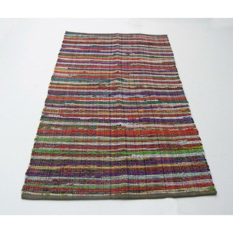Latitude Run Leonardo Recycle Chindi Rag Cotton Red Brown Purple Area Rug Wayfair