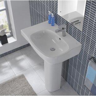 Big Save Moda Ceramic 26 Pedestal Bathroom Sink with Overflow By Bissonnet