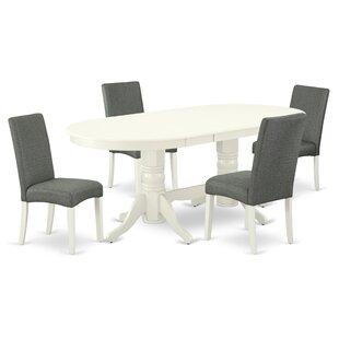Vancel 5  Piece Rubberwood Solid Wood Dining Set