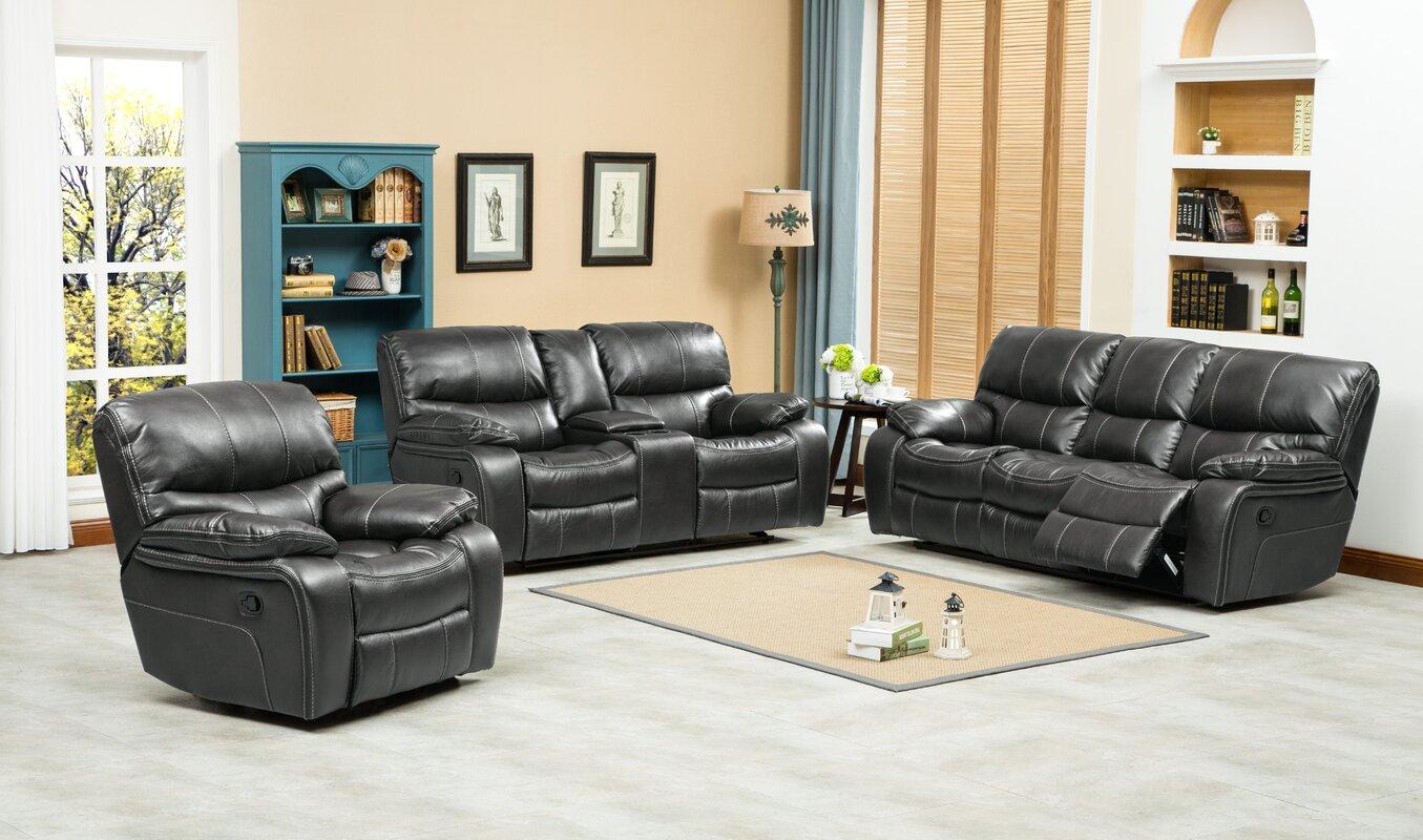 three piece living room set. Ewa 3 Piece Leather Living Room Set Roundhill Furniture  Reviews