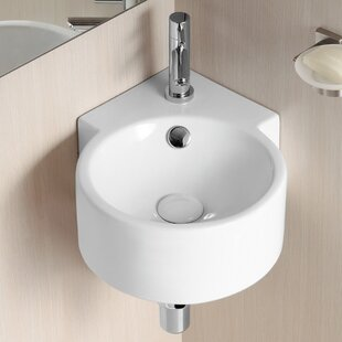 Ceramic 18 Corner Bathroom Sink with Overflow Caracalla