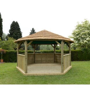 4.9m X 4.3m Wooden Gazebo With Thatched Roof By Sol 72 Outdoor