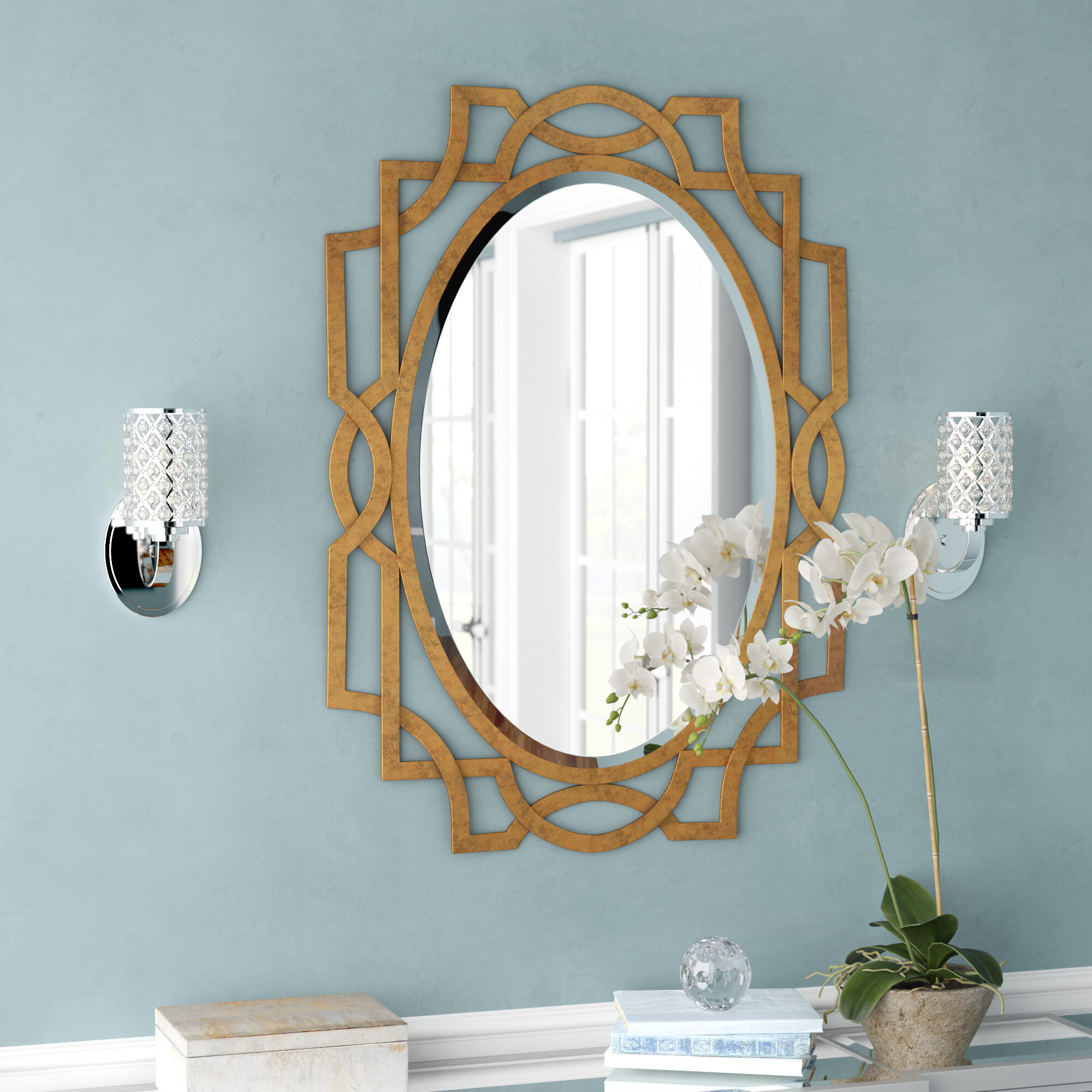Willa Arlo Interiors Gold Oval Accent Mirror & Reviews | Wayfair