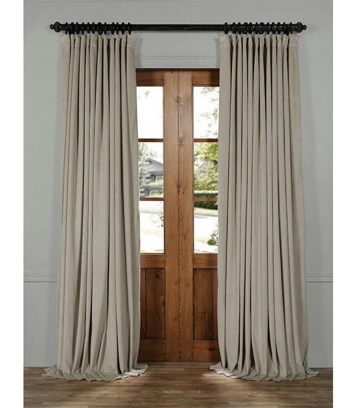 half price drapes signature solid extra wide velvet blackout rod pocket single curtain panel. Black Bedroom Furniture Sets. Home Design Ideas