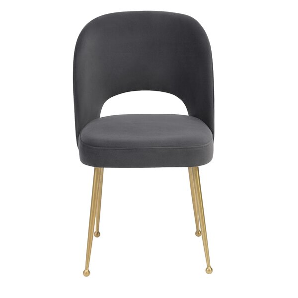 Pleasing Modern Contemporary Beatrix Gray Velvet Side Chair Allmodern Theyellowbook Wood Chair Design Ideas Theyellowbookinfo
