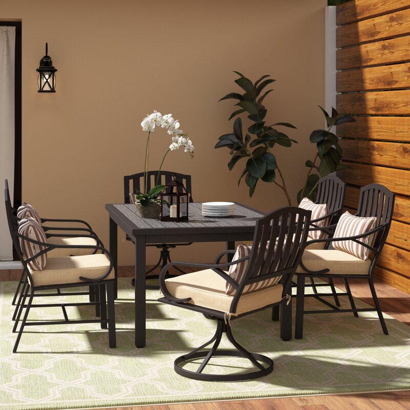 Alcott Hill Eubanks 7 Piece Dining Set with Cushion
