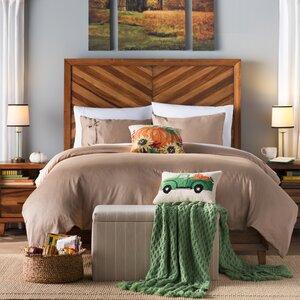 Fall Truck With Pumpkin Wool Lumbar Pillow