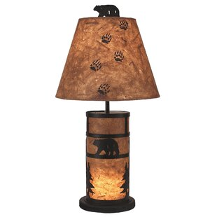 Hardwick Bear and Tree Mission Style Night Light 26 Table Lamp