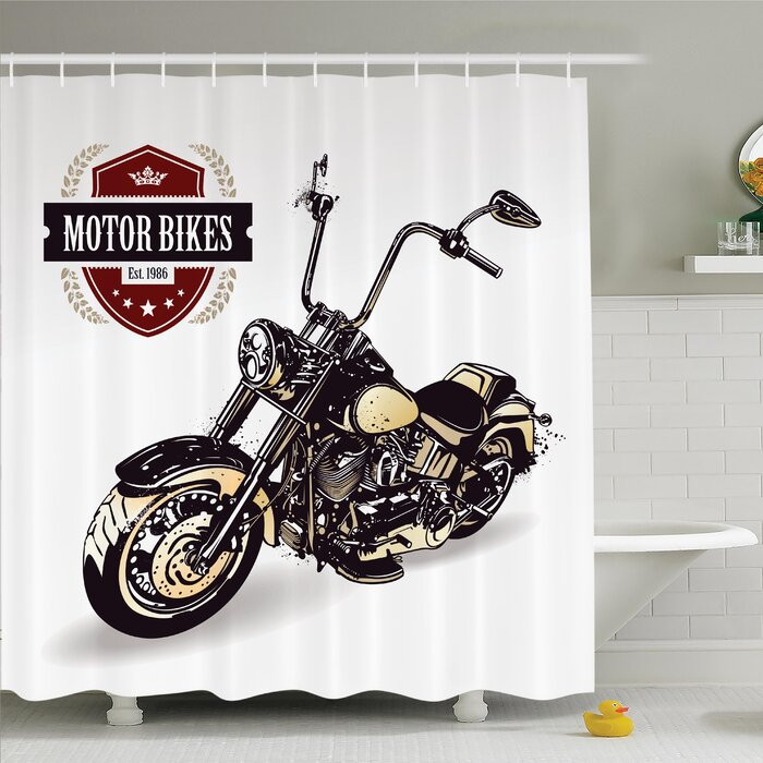 Ambesonne Vintage Old Classic Motorcycle Shower Curtain Set Wayfair Ca