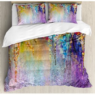 Watercolor Flower Home Abstract Herbs Weeds Blossoms Ivy Back with Florets Shrubs Design Duvet Cover Set