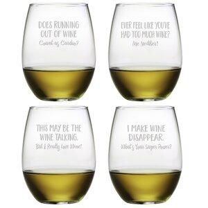 4 Piece Uncorked 21 oz. Stemless Wine Glass Set
