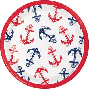 Nautical Anchor Paper Disposable Dessert Plate (Set of 24)