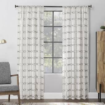 Allmodern Embroidered Linen Geometric Sheer Rod Pocket Single Curtain Panel Reviews Wayfair