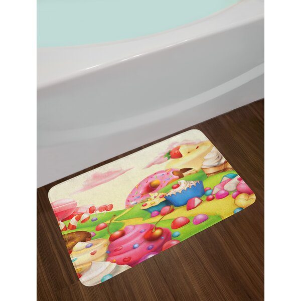 115ea70c0fcf Yummy Donuts Sweet Land Cupcakes Ice Cream Cotton Candy Clouds Kids Nursery  Design Non-Slip Plush Bath Rug