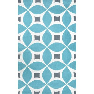 Crispin Hand-Tufted Baby Blue/White Area Rug