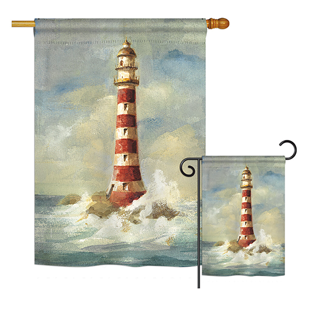 Breeze Decor Lighthouse By The Sea Nautical Impressions Decorative Vertical House Printed In American 2 Sided Polyester 2 Piece Flag Set Wayfair
