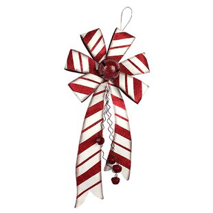 christmas holiday bow with bell shaped ornament - Red Christmas Bows