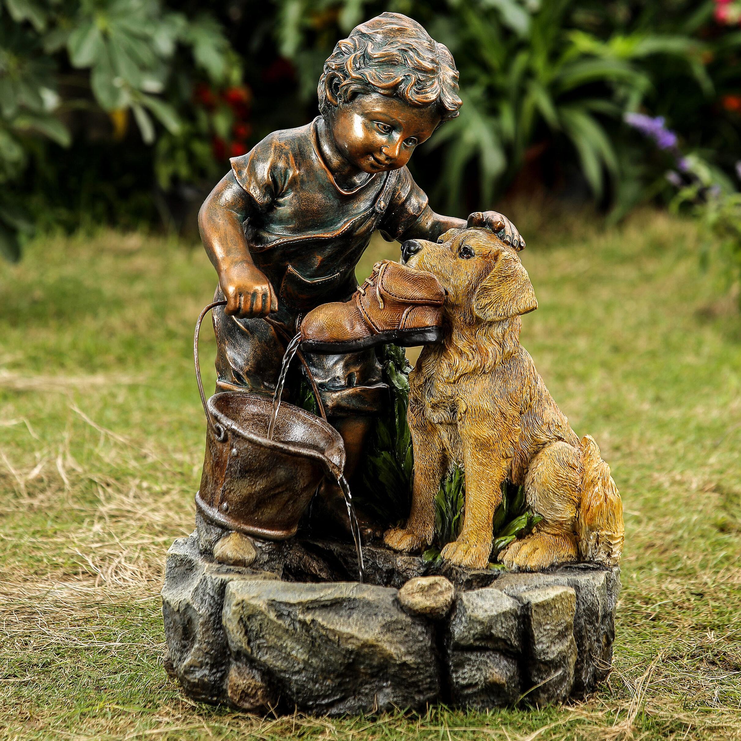 Jeco Inc. Resin/Fiberglass Boy Plays with Dog Water Fountain   Wayfair