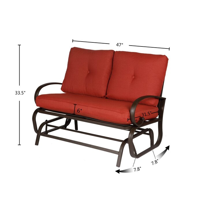 Prime Courtois Outdoor Glider Bench With Cushions Gmtry Best Dining Table And Chair Ideas Images Gmtryco