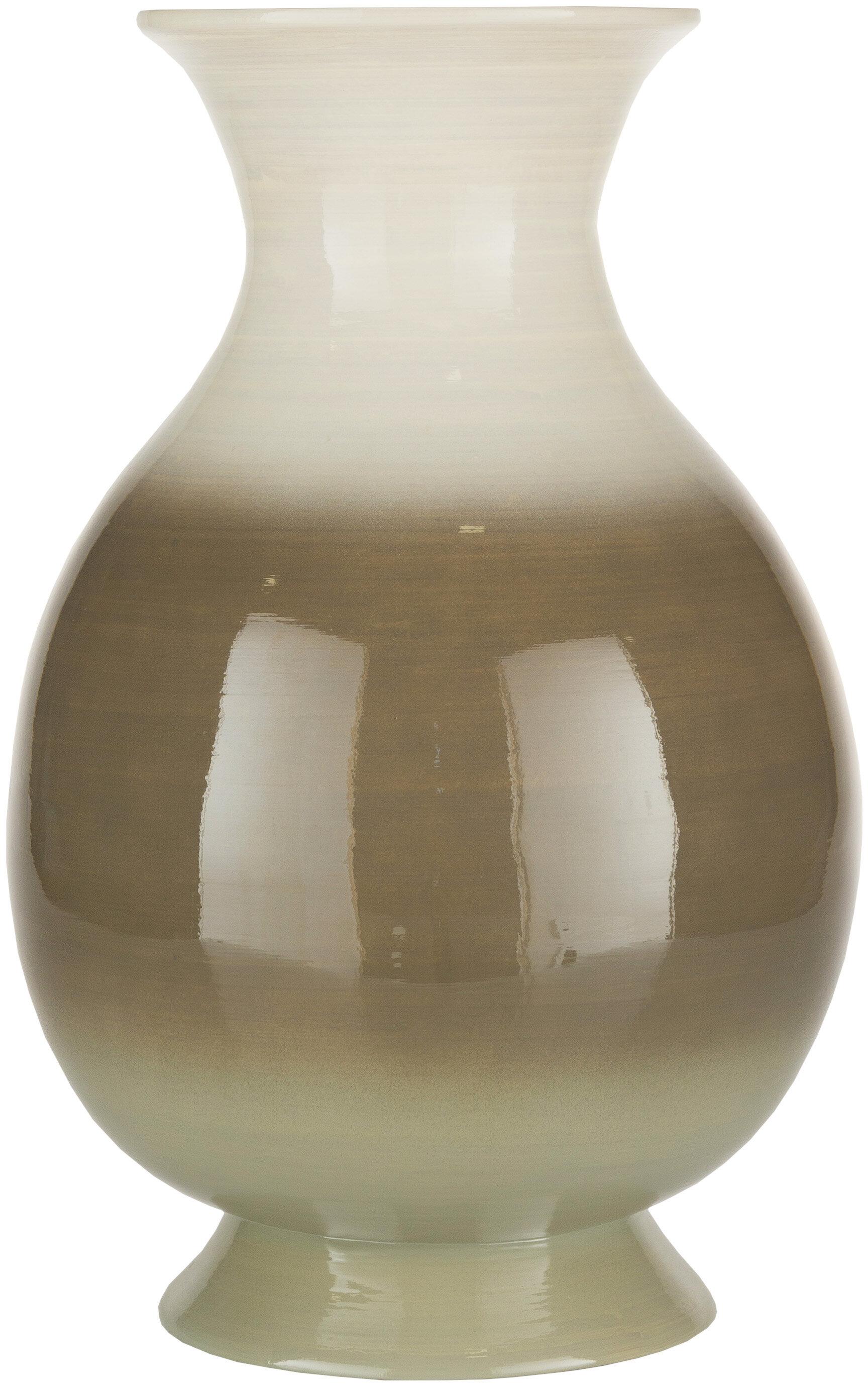 Brayden Studio Mackenzie White Camel 16 5 Wood Table Vase Wayfair