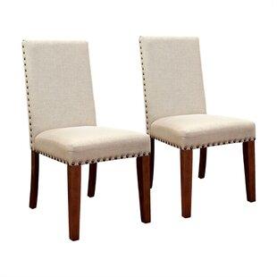 Shearer Linen Upholstered Side Chair in White Set of 2 by Gracie Oaks