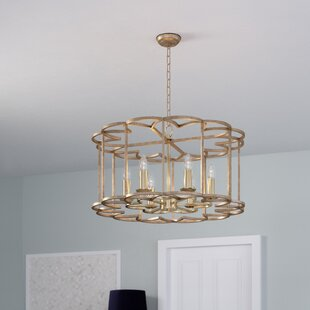 Rosdorf Park Delana 6-Light Bronze Fusion Drum Chandelier
