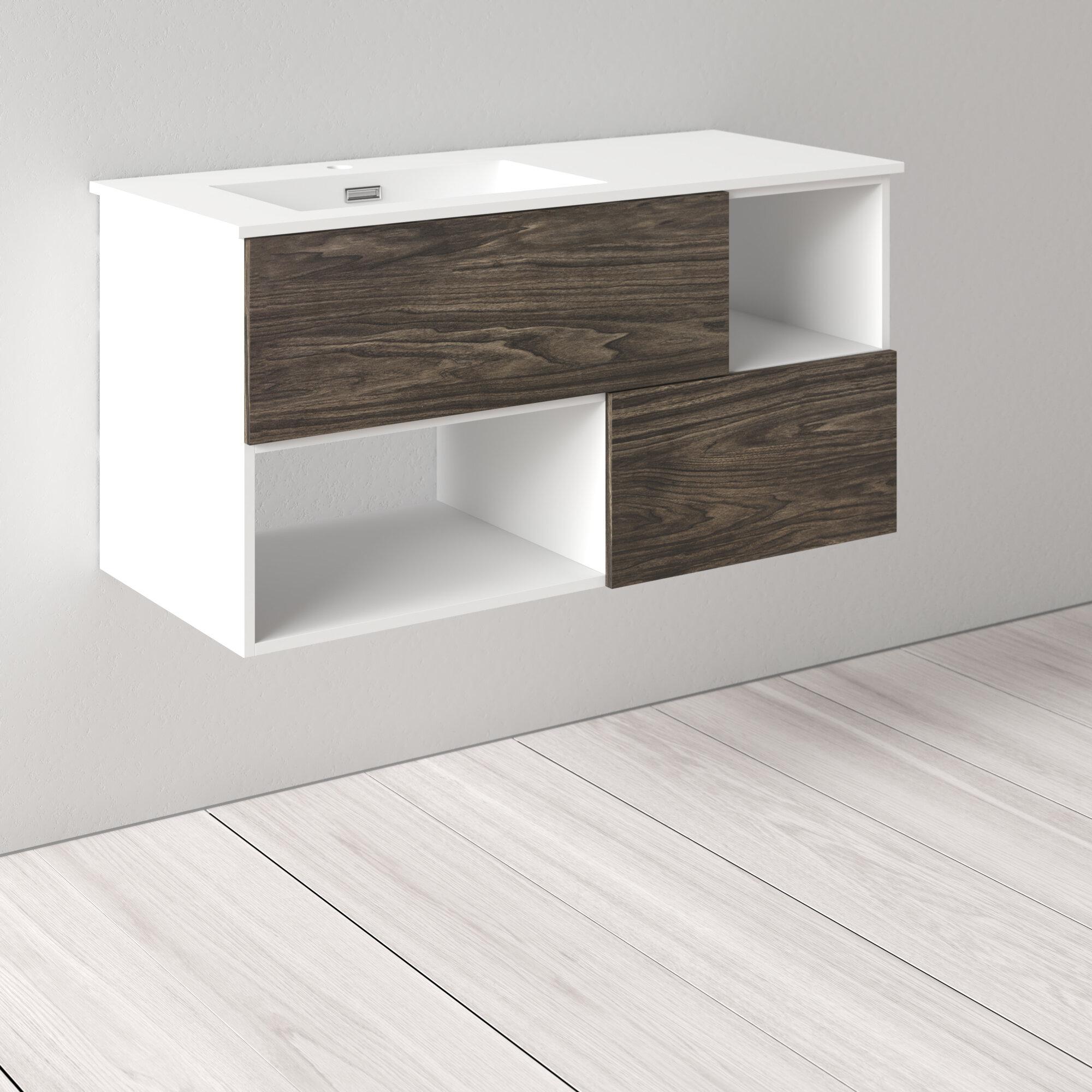 Allmodern Kaden 42 Wall Mounted Single Bathroom Vanity Set Reviews Wayfair