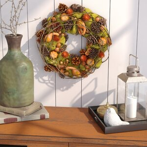 Autumn Days Gourd and Pine cone Wreath