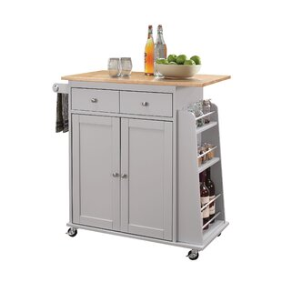 Flushing Kitchen Cart with MDF Top Charlton Home