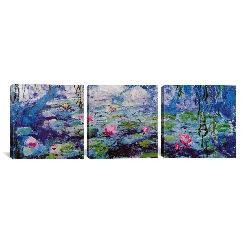 Vault W Artwork Nympheas By Claude Monet 3 Piece Painting Print On Wrapped Canvas Set Reviews Wayfair
