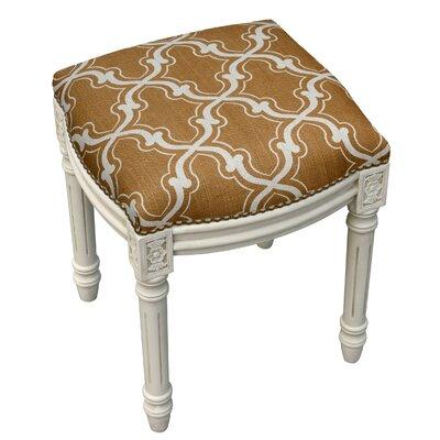 123 Creations Trellis Linen Upholstered Vanity Stool