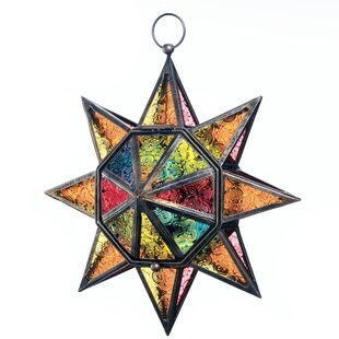 Look for Multi-Faceted Colorful Glass/Iron Lantern By Bloomsbury Market