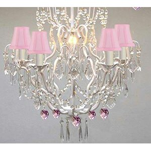 Clemence 5-Light Pink Shade Crystal Chandelier